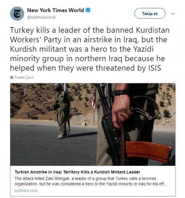 New York Times PKK'lı teröristi kahraman yaptı