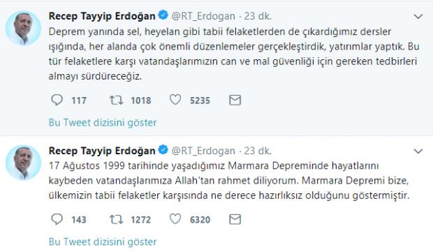 Başkan Erdoğan'dan 17 Ağustos depremi mesajı
