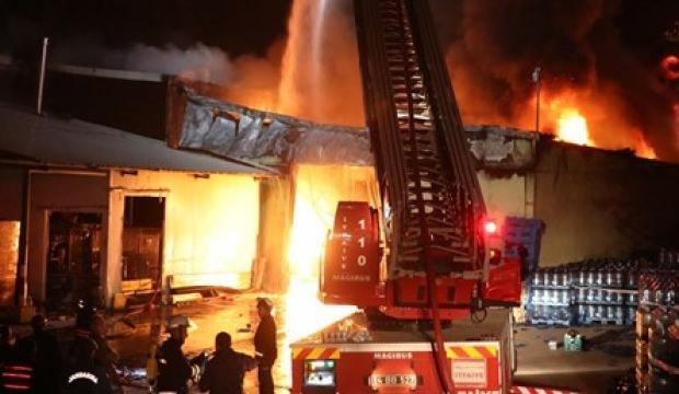 Abant'ta su dolum tesisinde yangın
