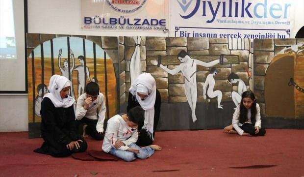 Gaziantep'te tutuklu Suriyeliler için protesto