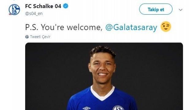 Schalke'den G.Saray'a mesaj! Tweet attılar
