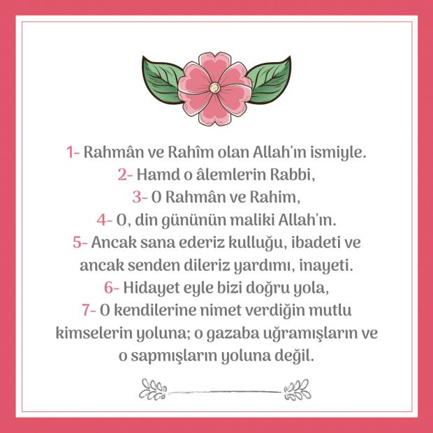 Fatiha Suresinin türkçe okunuşu
