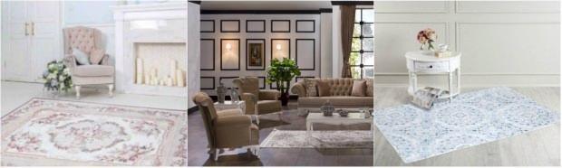 Salon-yatak-oturma odası halı modelleri