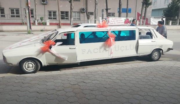 41 yıllık otomobili limuzine çevirip gelin arabası yaptı