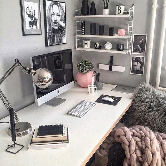 Küçük evler için çalışma odası dekorasyonları