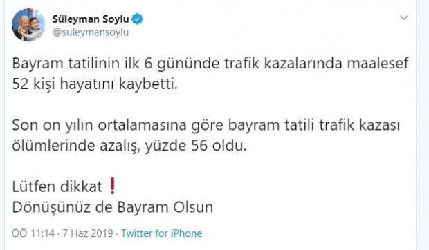 İçişleri Bakanı Süleyman Soylu, bayram tatili boyunca yaşanan trafik kazalarıyla ilgili sosyal medya hesabından açıklama yaptı.