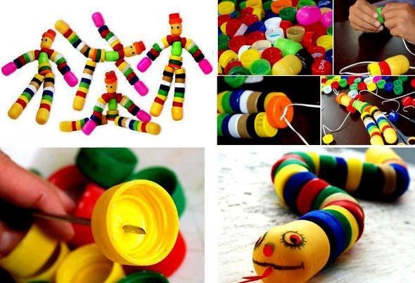 Şişe kapaklarından oyuncak yapımı