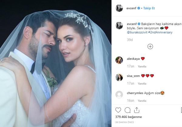 Fahriye Evcen evlilik yıl dönümü kutlaması