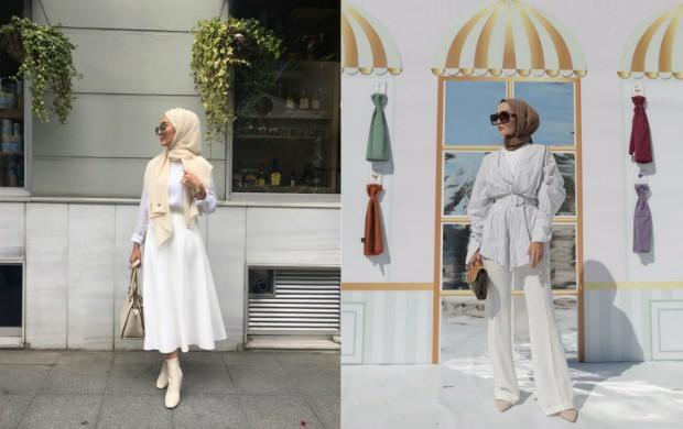 beyaz elbise tesettür