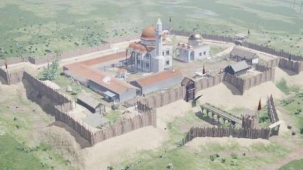 Kanuni'nin türbesinin bulunduğu kasaba merkezinin, araştırmalar temelinde oluşturulan görüntüsü...