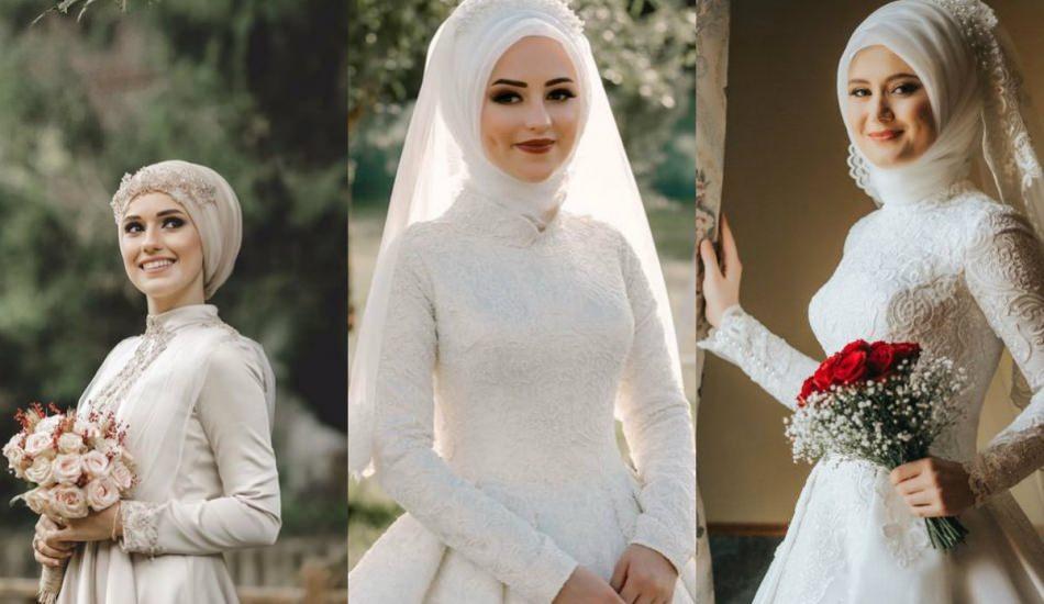 2019 tesettür modasında gelin başı modelleri