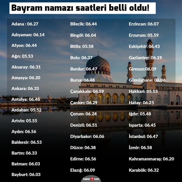 2019 Kurban Bayrami Namazi Saat Kacta Kilinacak Il Il