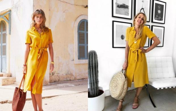 sarı renk elbise
