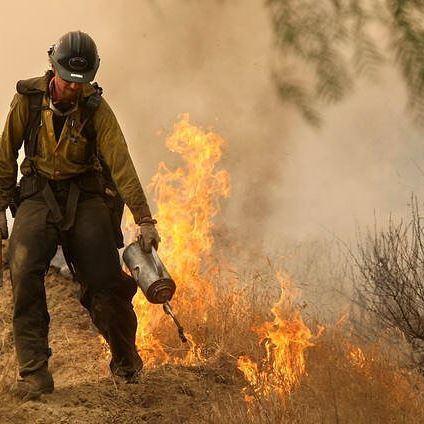 Karşı ateş uygulamasını kullanan itfaiyeci. ABD, 2009.