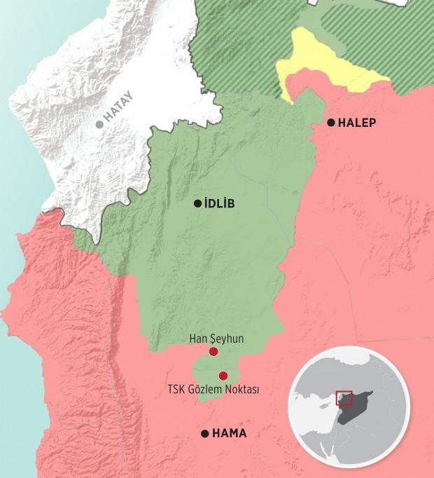 Esed rejiminin kenti almadan önceki son durumu gösteren harita...