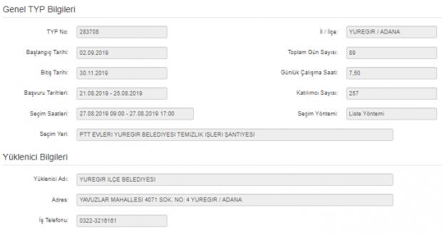 İŞKUR TYP Kapsamında Personel Alımı