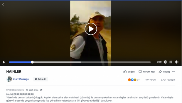 Özkan Özbedel'i hedef göstermek için yapılmış sosyal medya paylaşımlarından biri.