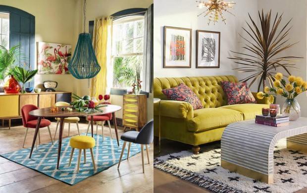 sarı oturma odası dekorasyonu