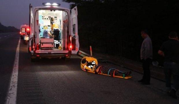 TEM'de hafif ticari araç takla attı: 6 yaralı