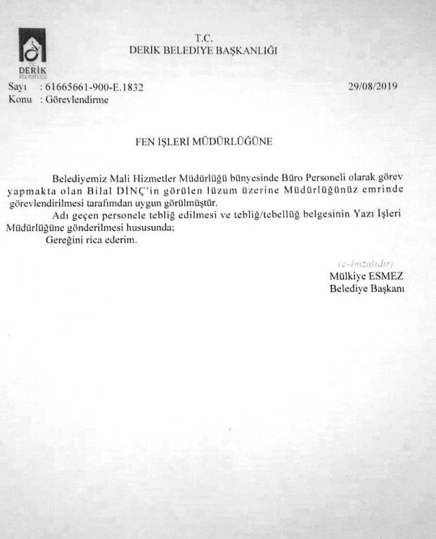Büro memuru Bilal Dinç'in, Mülkiye Esmez imzalı temizlik personeli olarak görevlendirilme yazısı.