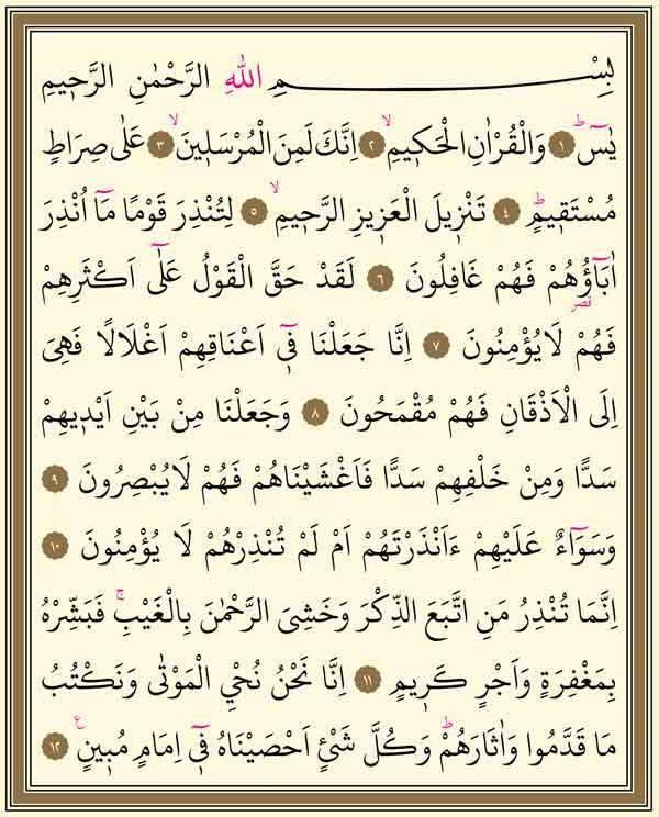 Yasin suresi 1.sayfa