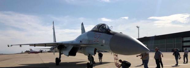İstanbul' iniş yapan Su-35 savaş uçağı