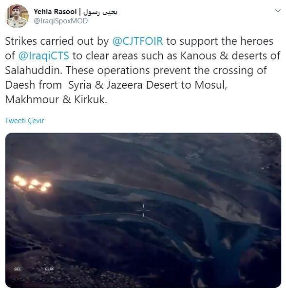 Irak Savunma Bakanlığı Sözcüsü Yahya Rasul'un sosyal medya hesabındaki açıklamaları