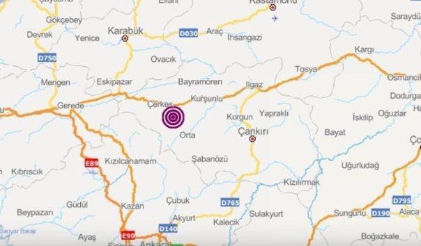 Depremin merkez üssünün  Çerkes ilçesi olduğu belirtildi