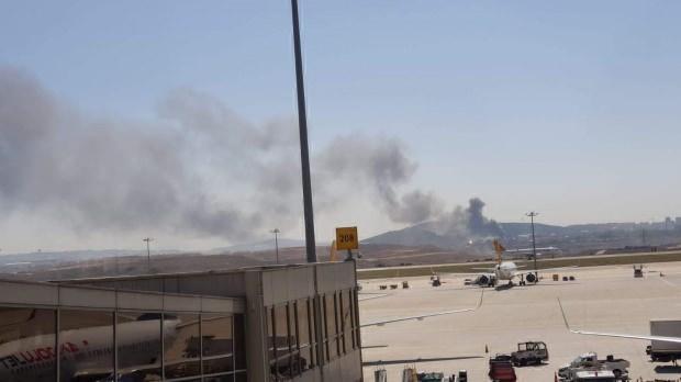 Yangının Sabiha Gökçen Havalimanı'ndan çekilen görüntüsü