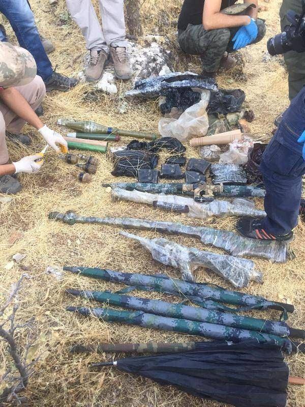 Ömeryan'daki operasyonda ele geçirilen teçhizatlar