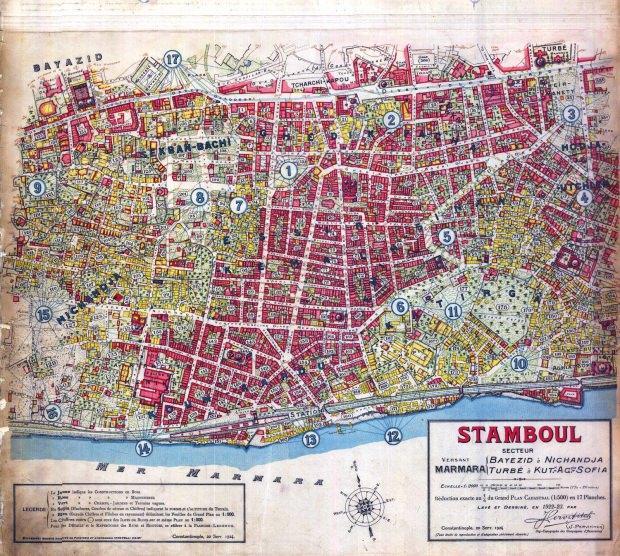 Topograf Jacques Pervititch›in 1920›li yıllarda yaptığı İstanbul haritasında şehrin birçok kayıp noktasını görmek mümkün.