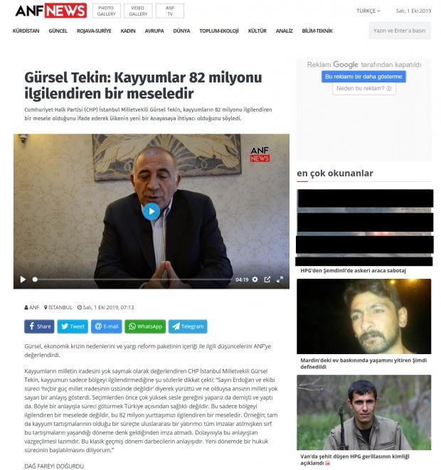 CHP'li Tekin'in verdiği demecin yayınlandığı sayfada, terör örgütü PKK'nın propaganda haberleri yer alıyor.