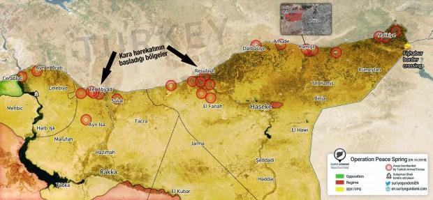 Tsk Nin Suriye De Vurdugu Yerler Iste Harita Uzerinde Son