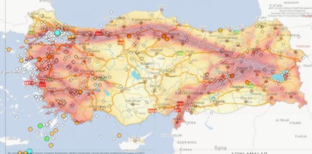 Not: Deprem haritası 24 Eylül ile 1 Ekim tarihlerini kapsamaktadır.