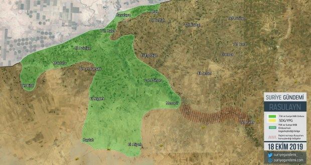 Harekatın 9. gününde Rasulayn bölgesinde ele geçirilen yerler... (Harita: Suriye Gündemi)