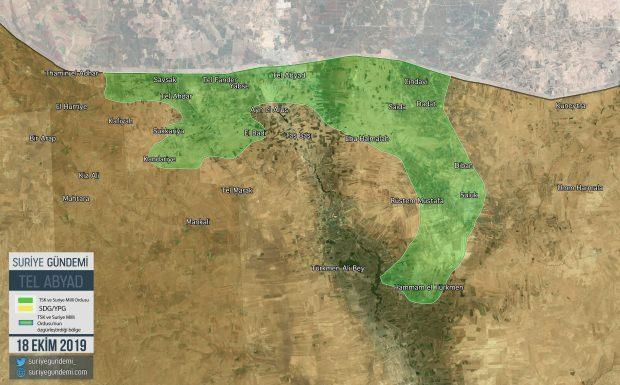 Harekatın 9. gününde Tel Abyad bölgesinde ele geçirilen yerler... (Harita: Suriye Gündemi)