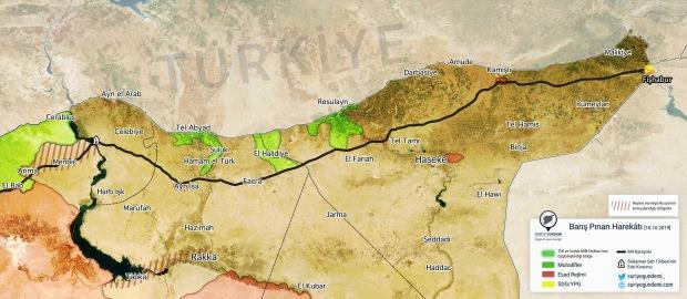 Harekatın 9. günü boyunca ele geçirilen yerler... (Harita: Suriye Gündemi)