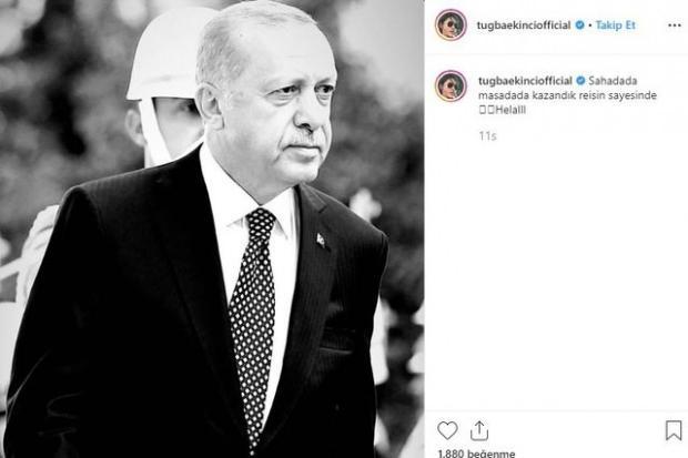 Tuğba Ekinci Cumhurbaşkanı Erdoğan paylaşımı