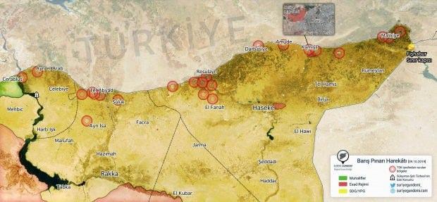 Operasyonun ilk gününde TSK'nın vurduğu YPG bölgeleri (Harita: Suriye Gündemi)