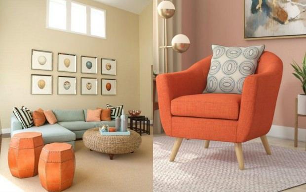 turuncu koltuk dekorasyonu