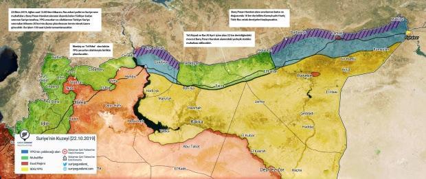 Barış Pınarı Harekatı'nın ardından ABD ve Rusya ile yapılan mutabakatlar sonrasında Suriye'nin kuzeyindeki son görünüm