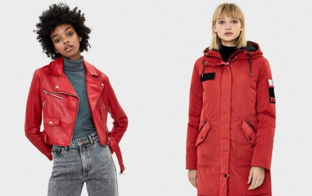 kırmızı renk deri ceket