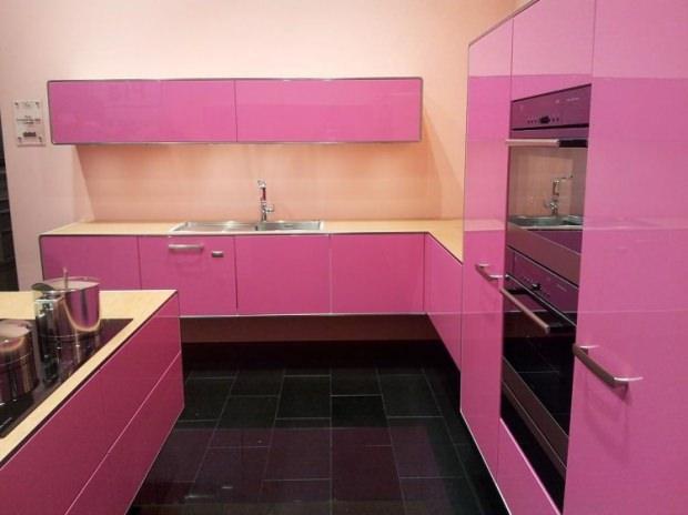 pembe mutfak dekorasyon fikirleri