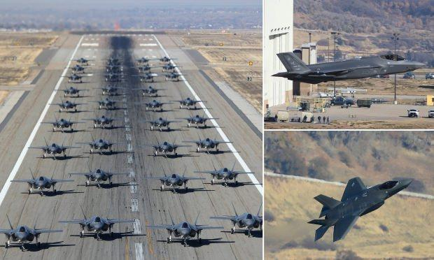 Hill Hava Kuvvetleri Üssü'ndeki F-35'leri gösteri uçuşu ve fil yürüyüşü....