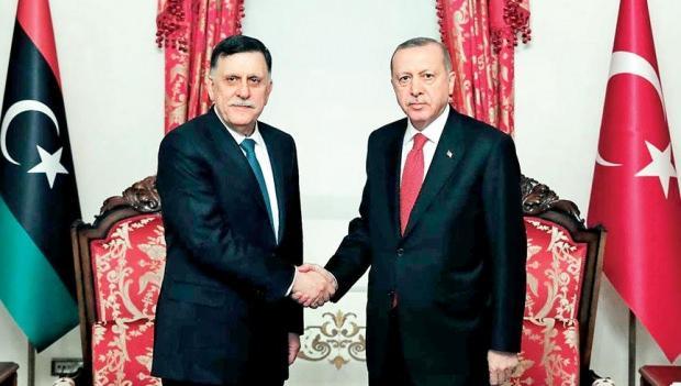 Libya Ulusal Mutabakat Hükümeti Başkanı Feyaz el-Serrac ve Türkiye Cumhurbaşkanı Recep Tayyip Erdoğan
