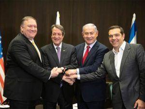 ABD Dış İşleri Bakanı Mike Pompeo, Rum lider Nikos Anastasiades, İsrail Başbakanı Benyamin Netanyahu ve Yunanistan eski Başbakanı Aleksis Çipras (20 Mart 2019)