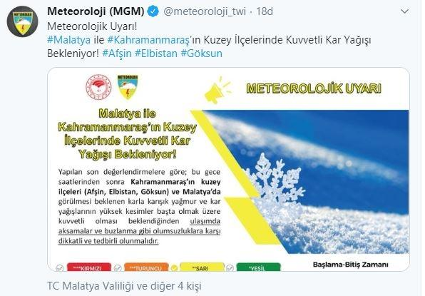 Meteoroloji Genel Müdürlüğü, Malatya ile Kahramanmaraş'a yoğun kar yağışı uyarısı yaptı.