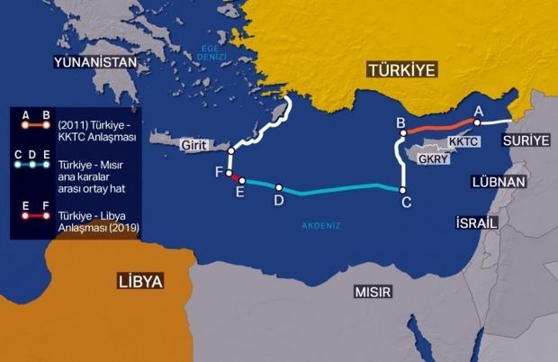 Libya ile varılan son mutabakattan sonra Türkiye'nin Doğu Akdeniz'deki kıta sahanlığı ve münhasır ekonomik bölge (MEB) sınırlarını gösteren harita (Fotoğraf:NTV)