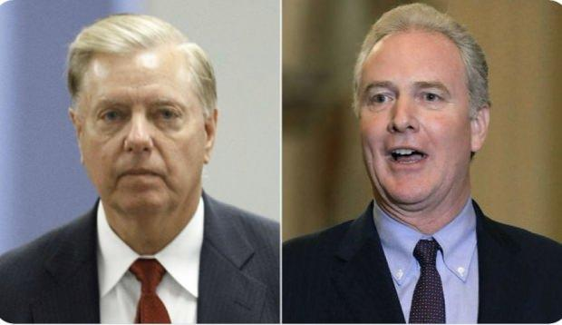 Lindsey Graham (solda) ile Chris Van Hollen (sağda)