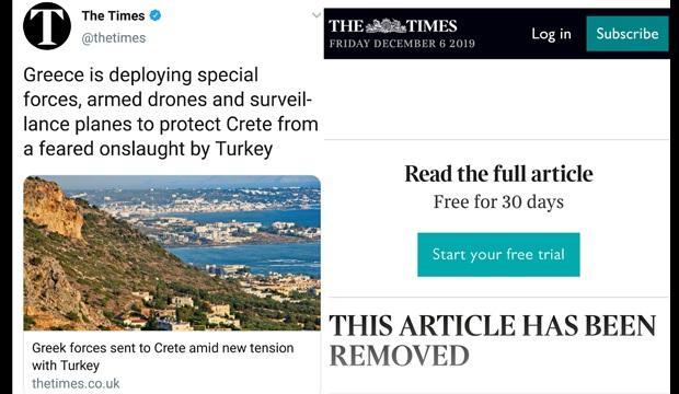 The Times haberini kaldırdı....